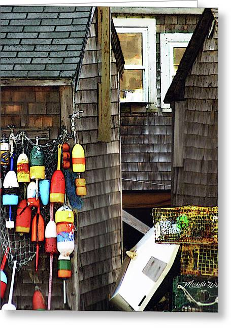 Lobster Buoy Greeting Cards - Lobster Buoys in Rockport Massachusetts Greeting Card by Michelle Wiarda