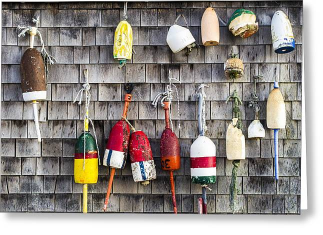 Shack Greeting Cards - Lobster Buoys on Wall, York, Maine Greeting Card by Steven Ralser