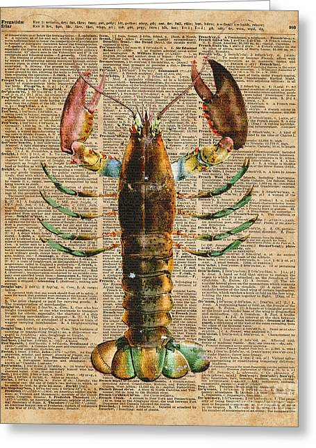 Lobster Crustacean Mediterranean Sealife Vintage Dictionary Art Collage Greeting Card by Jacob Kuch