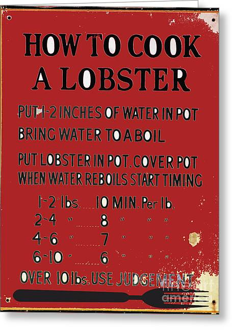 Waterscape Mixed Media Greeting Cards - Lobster Recipe Kitchen Art Print Greeting Card by ArtyZen Studios - ArtyZen Home