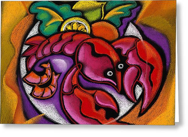 Lemon Art Greeting Card featuring the painting Lobster by Leon Zernitsky