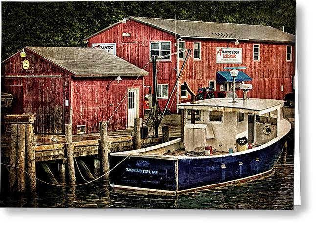 Take-out Greeting Cards - Lobster Market in Boothbay Harbor Greeting Card by Carolyn Derstine