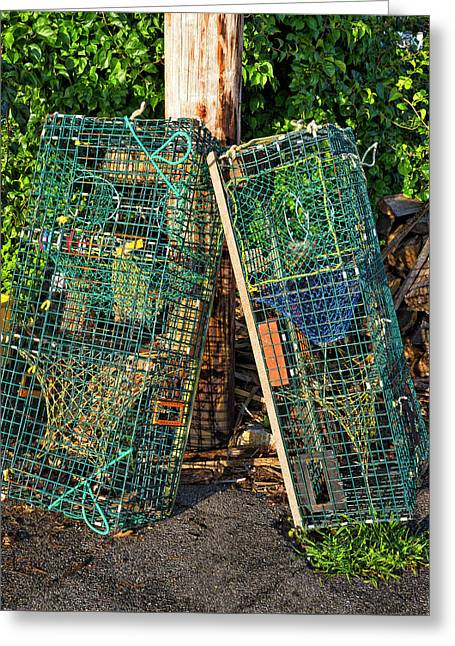 Lobster Pots - Perkins Cove - Maine Greeting Card by Steven Ralser