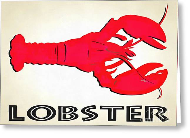 Lobster Sign Folk Art Greeting Card by Edward Fielding