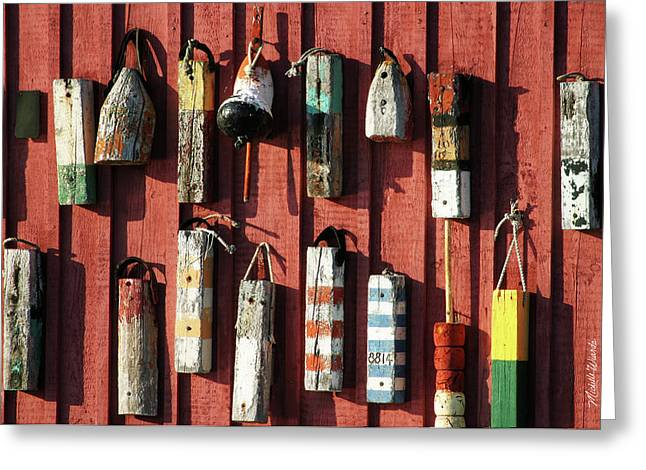 Motif Number One Greeting Cards - Lobster Trap Markers Motif Rockport Massachusetts Greeting Card by Michelle Wiarda