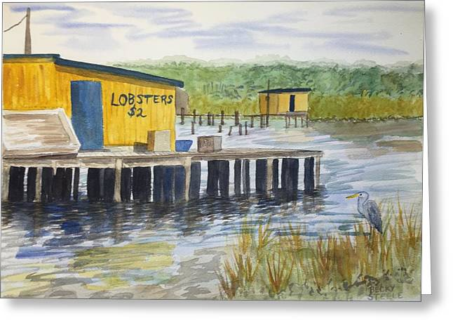 Lobster Shack Paintings Greeting Cards - Lobsters For Sale Greeting Card by Becky Steele