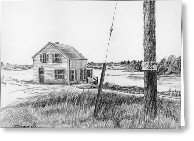 Old Maine Houses Drawings Greeting Cards - Lobsters for Sale Greeting Card by Dominic White