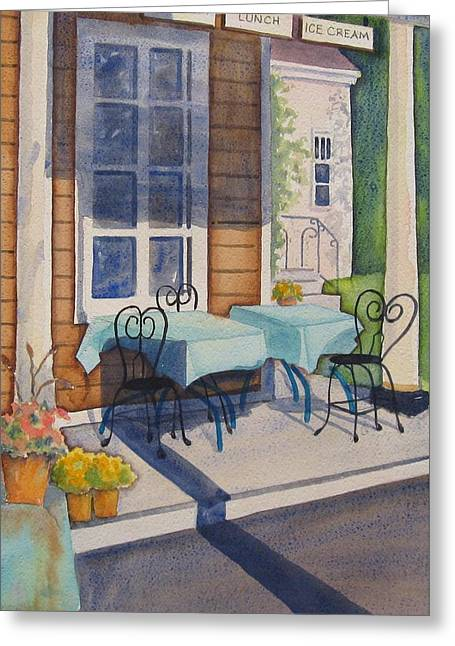 Table Greeting Cards - Local Hangout Greeting Card by Marsha Elliott