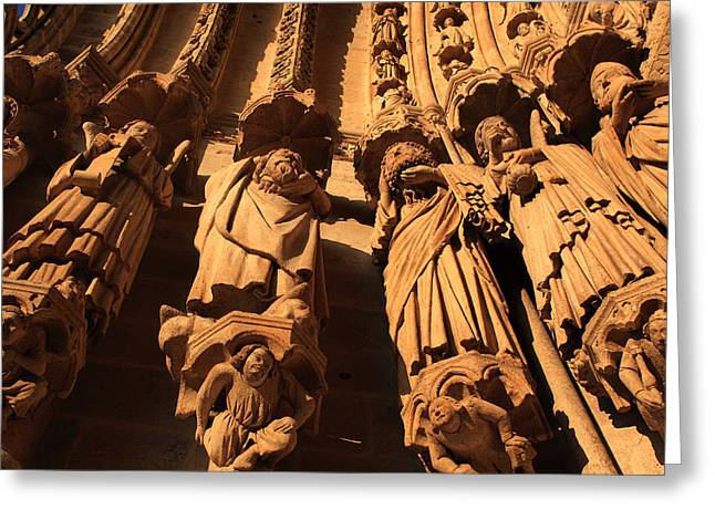 Amiens Greeting Cards - Local Saints At The Western Entrance Greeting Card by Aidan Moran
