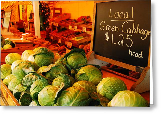Farm Stand Greeting Cards - Locally Grown Greeting Card by James Kirkikis