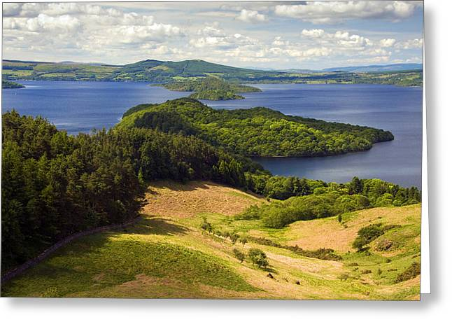 National Boundaries Greeting Cards - Loch lomond from Conic Hill Greeting Card by John McKinlay