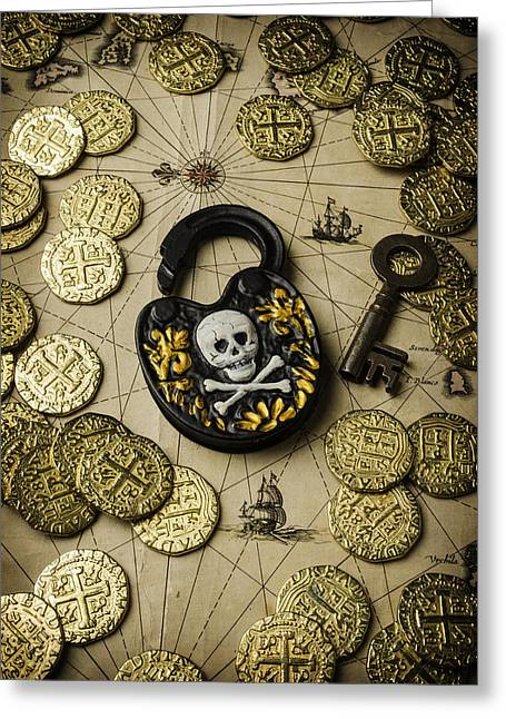 Old Lock Greeting Cards - Lock And Gold Coins Greeting Card by Garry Gay