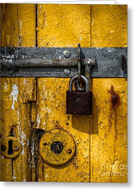Barn Door Greeting Cards - Lock Greeting Card by Catherine Balfe