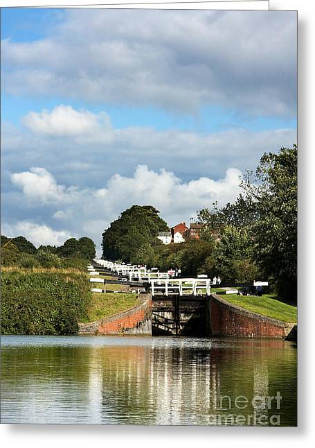 Barge Greeting Cards - Lock gates Greeting Card by Jane Rix