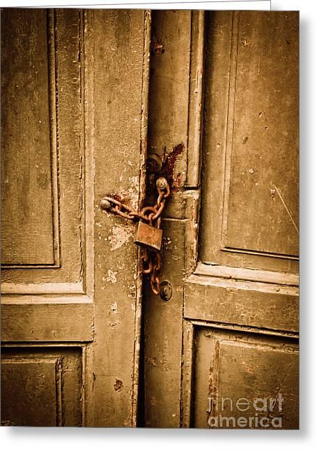 Medieval Entrance Greeting Cards - Locked Greeting Card by Gabriela Insuratelu