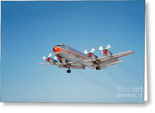 Lockheed L-188b Electra American Airlines Aal Greeting Card by Wernher Krutein