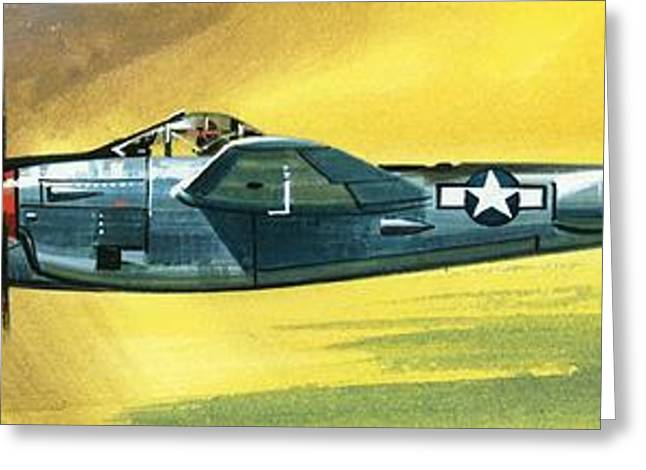 Military Airplanes Paintings Greeting Cards - Lockheed P-38J Lightning Greeting Card by Wilf Hardy