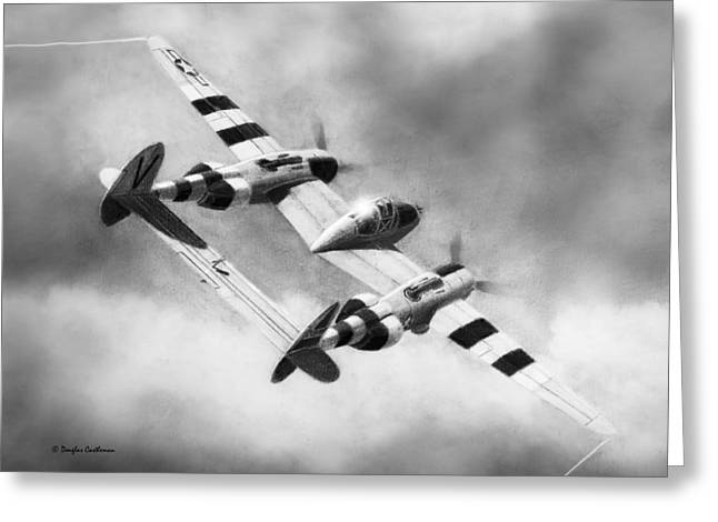 Military Airplanes Greeting Cards - Lockheed P-38L Lightning Drawing Greeting Card by Douglas Castleman