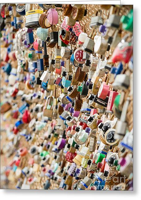 Locks Of Love In Pittsburgh Greeting Card by Keith Ptak