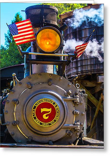 Locomotive And American Flag Greeting Card by Garry Gay