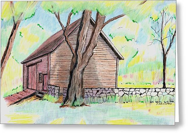 Drawings Of Barns Greeting Cards - Locust Street Ild Barn Greeting Card by Paul Meinerth