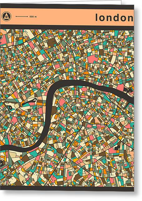 London City Map Greeting Cards - Lodon Map Greeting Card by Jazzberry Blue