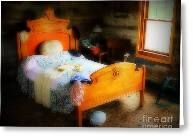 Cabin Window Greeting Cards - Log Cabin Bedroom Greeting Card by Perry Webster