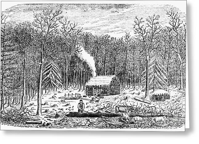 Log Cabin, C1800 Greeting Card by Granger
