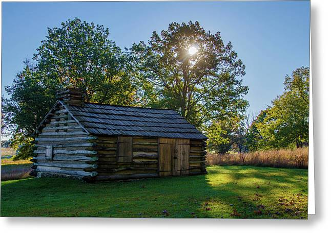 Log Cabin In Autumn At Valley Forge Greeting Card by Bill Cannon