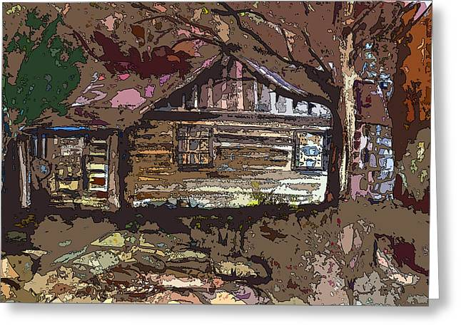 Log Cabin Art Greeting Cards - Log Cabin in Autumn Greeting Card by Mindy Newman