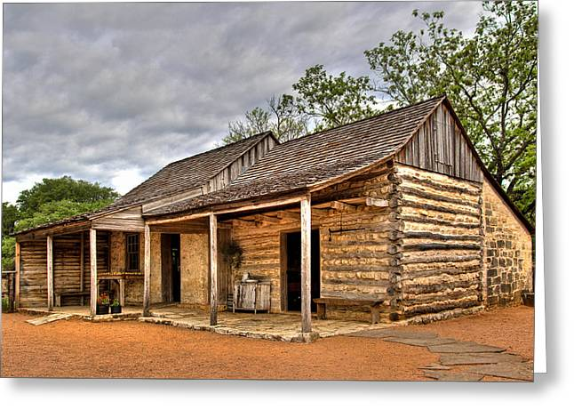 Log Cabin In Lbj State Park Greeting Card by David and Carol Kelly