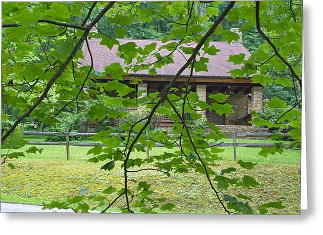 Log Cabin Interiors Greeting Cards - Cabin in the Woods Greeting Card by Brian Hamilton