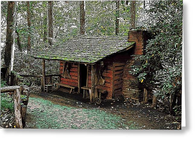 Early American Dwellings Greeting Cards - Log Cabin in the Woods Greeting Card by James Fowler