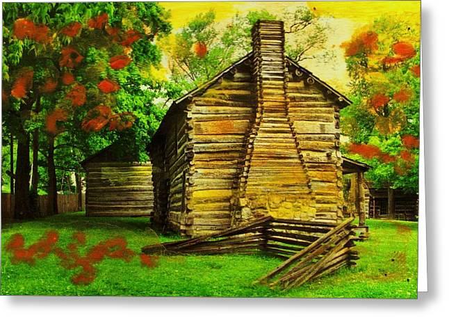 Log Cabins Greeting Cards - Log Cabin Memories Greeting Card by Anne-elizabeth Whiteway