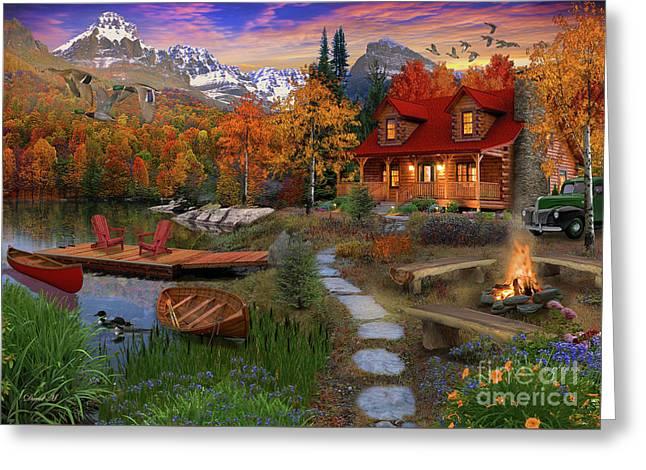 Log Cabin Greeting Card by MGL Meiklejohn Graphics Licensing