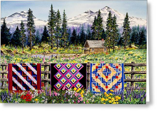 Log Cabins Greeting Cards - Log Cabin Quilts Greeting Card by Diane Phalen