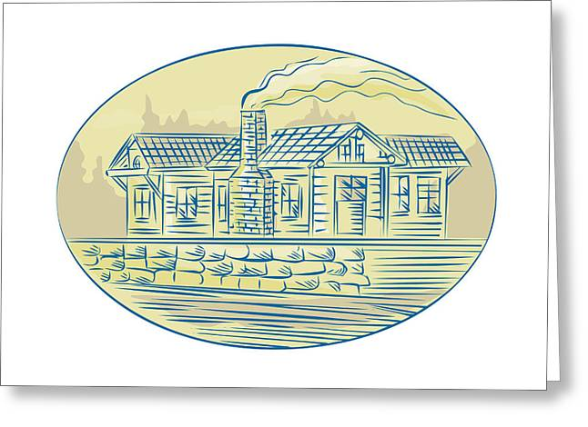 Etching Digital Greeting Cards - Log Cabin Resort Oval Etching Greeting Card by Aloysius Patrimonio