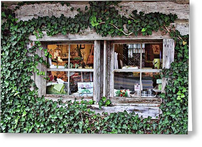 Cabin Window Greeting Cards - Log Cabin Shop Window Greeting Card by Linda Phelps