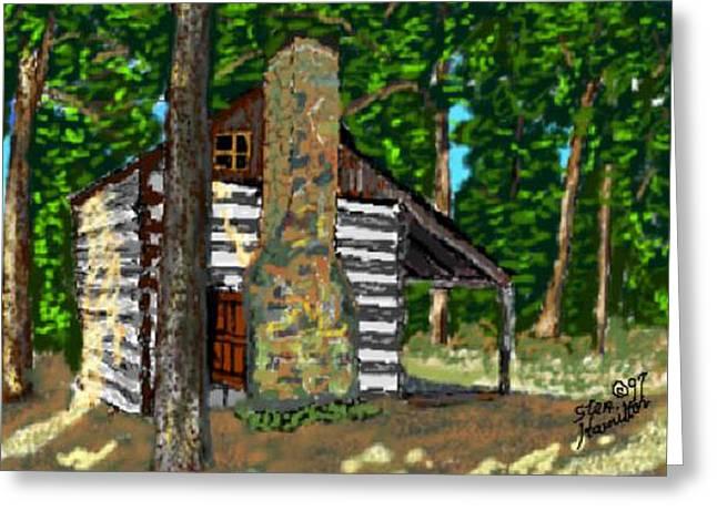 Log Cabin Art Digital Art Greeting Cards - Log Cabin Greeting Card by Stan Hamilton