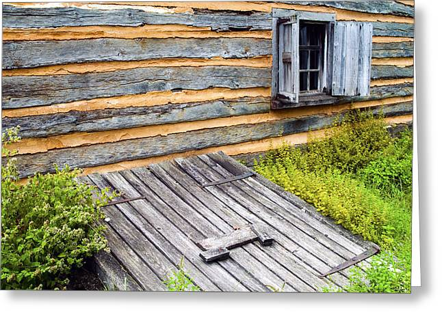 Log Cabins Greeting Cards - Log cabin storm cellar door Greeting Card by Paul W Faust -  Impressions of Light