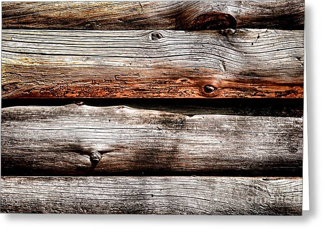 Old Cabins Greeting Cards - Log Cabin Wall Greeting Card by Olivier Le Queinec