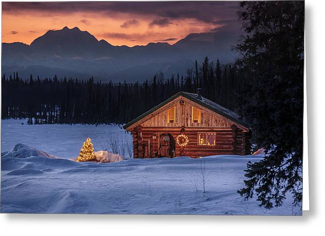 Log Cabins Greeting Cards - Log Cabin With Christmas Tree Greeting Card by Jeff Schultz
