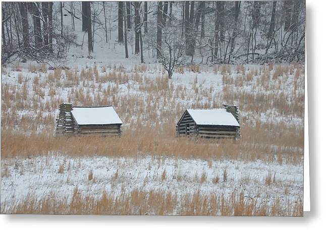 Log Cabins In Valley Forge Greeting Card by Bill Cannon