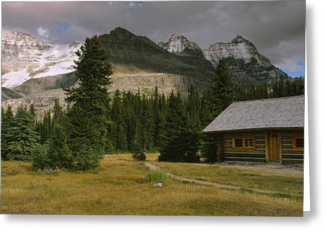 Mountain Cabin Greeting Cards - Log Cabins On A Mountainside, Yoho Greeting Card by Panoramic Images