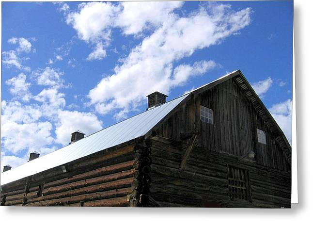 Tourist Site Greeting Cards - Log Clydesdale Barn Greeting Card by Will Borden