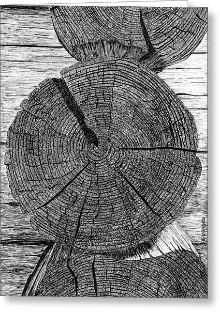 Log Cabins Greeting Cards - Log ends Greeting Card by Ed Einboden