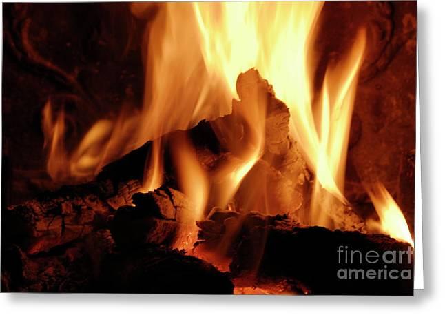 Log Fire Greeting Card by Sami Sarkis