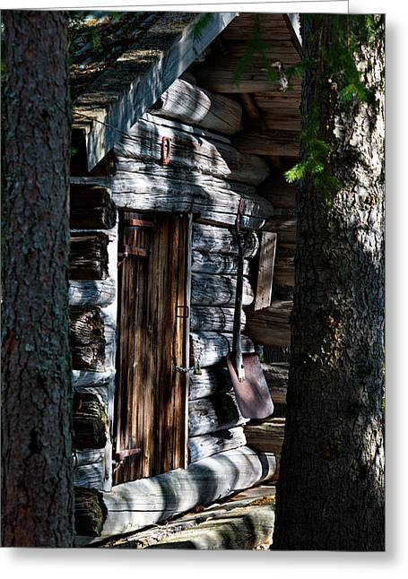 Hidden Corners Greeting Cards - Log house in a forest Greeting Card by Intensivelight