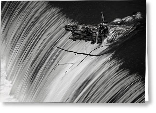 Cane Creek Greeting Cards - Log in the Falls Greeting Card by George Taylor