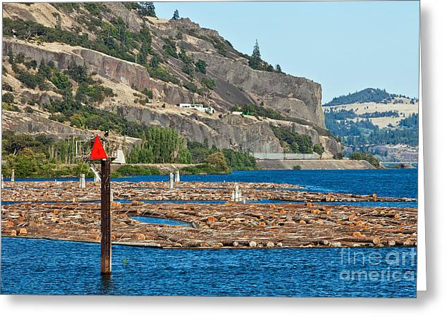 Land Use Greeting Cards - Log Rafts On The Columbia River Greeting Card by Inga Spence